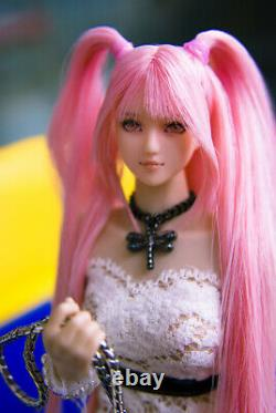 1/6 Scale Female Cosplay Pink Hair Head Sculpt Carving Model for 12 Figure Doll