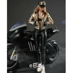 16 Black Cloth Female Clothes Motorcycle Clothing Set for 12 Action Figure