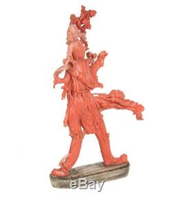 China 19. Jh. Koralle A Fine Chinese Coral Figure of a female Immortal Cinese