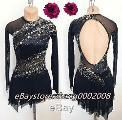 Ice Skating Dress. Competition Figure Skating Dress. Black Twirling Dance Costume