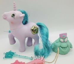 Vintage My Little Pony G1 PRINCESS SPARKLE AMETHYST withBushwoolie, Wand, & Hat